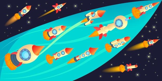 Rockets race horizontal banner concept Premium Vector