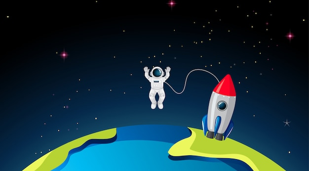 Rocketship and astronuat on earth Free Vector