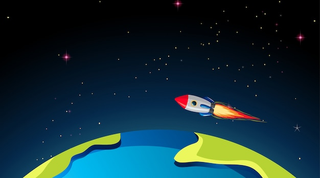 Rocketship flying over earth Free Vector