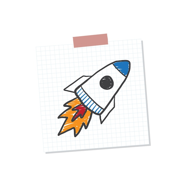 Rocketship start up note illustration Free Vector