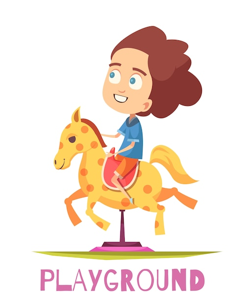 Rocking horse playground composition Free Vector
