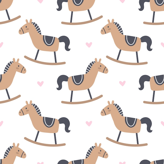 Rocking horse seamless pattern background Premium Vector