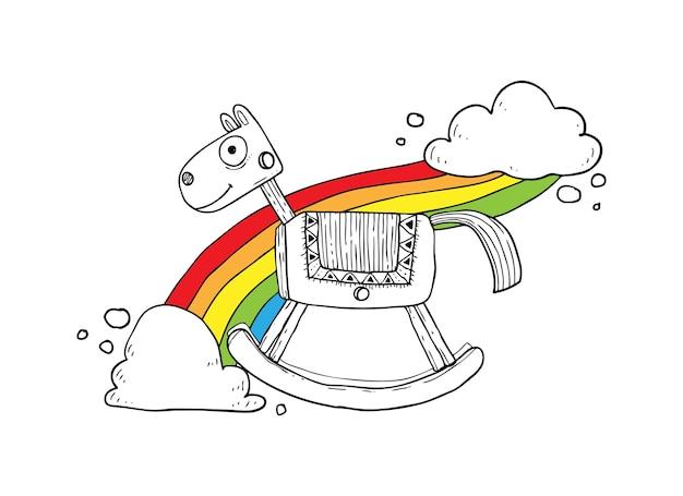 Эскиз качающейся лошади Premium векторы