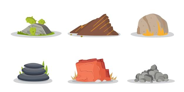 岩や石の要素コレクションセット Premiumベクター