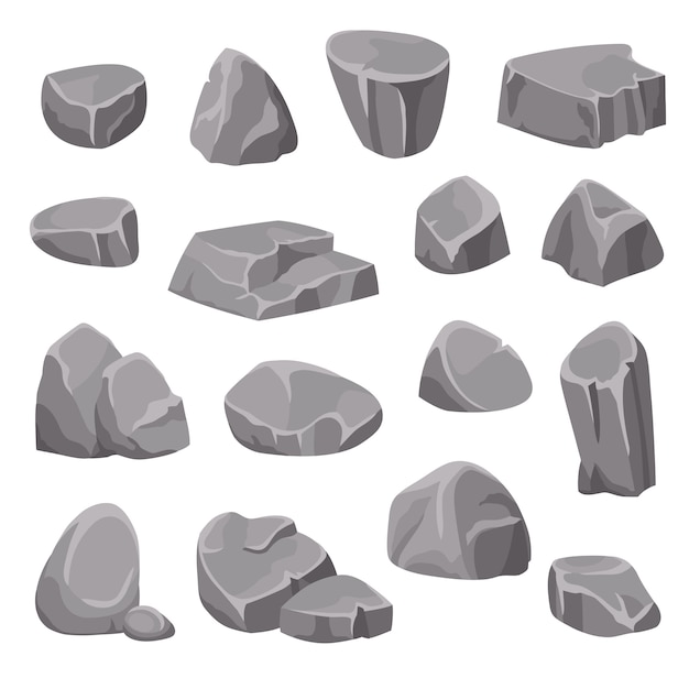 Rocks and stones elements Free Vector
