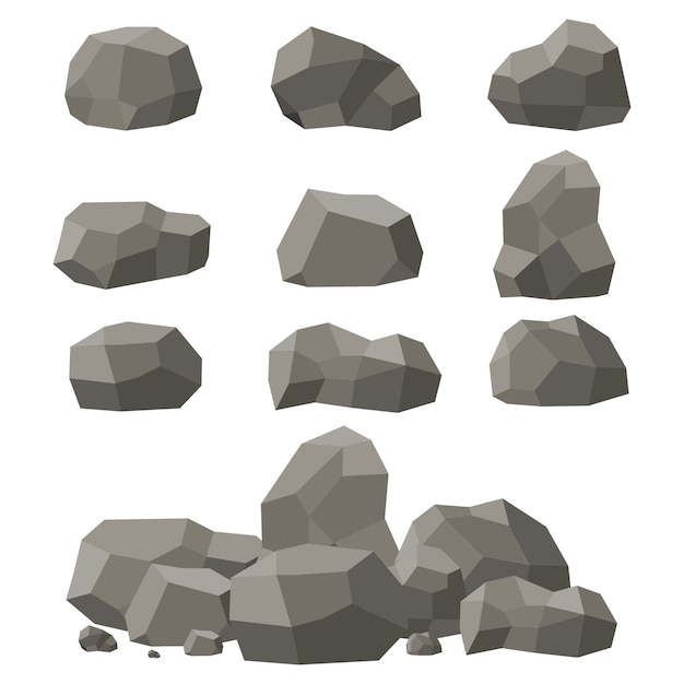 Rocks and stones set, single or piled. stones and rocks in isometric 3d flat style. set of different boulders. Premium Vector