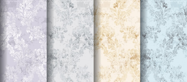 Rococo patterns set Premium Vector