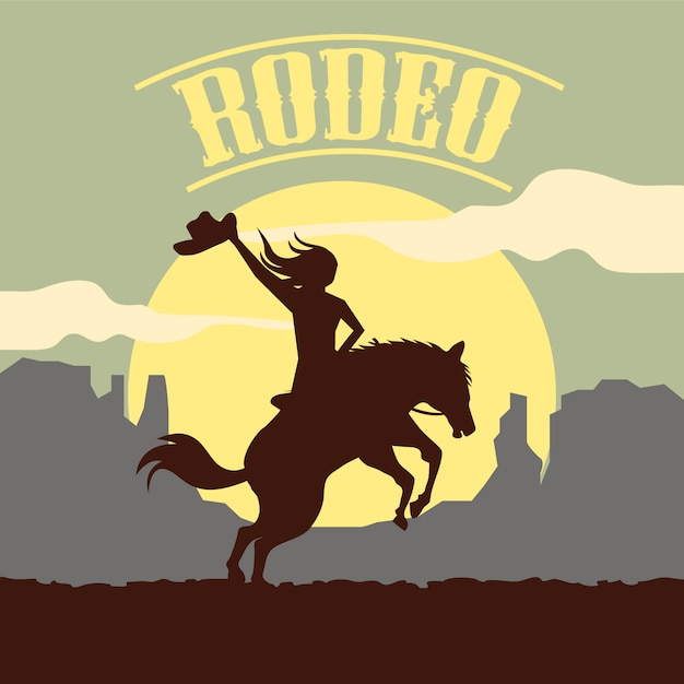 Rodeo background with silhouette Premium Vector