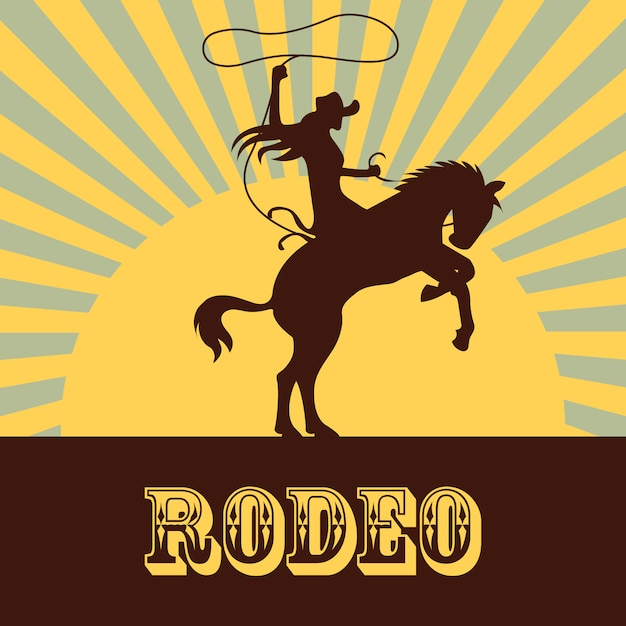 Rodeo background with woman Premium Vector