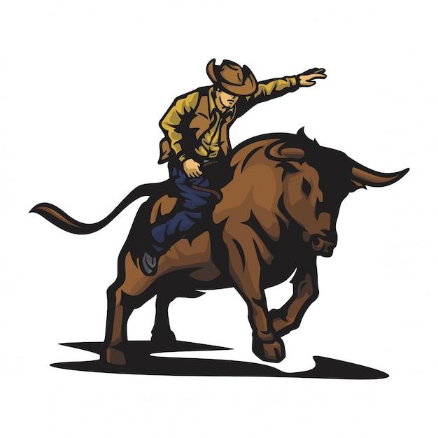 Rodeo bull vector Premium Vector