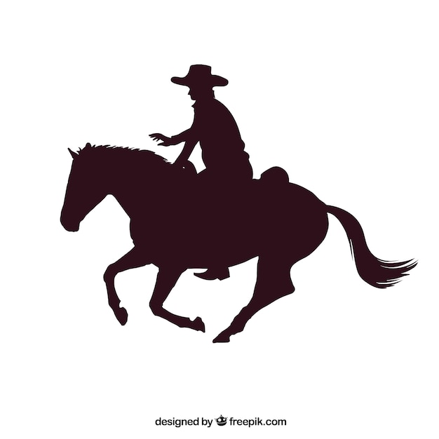 Rodeo cowboy riding a horse Premium Vector