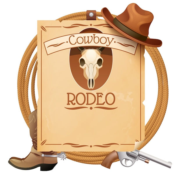 Rodeo retro wild west poster Free Vector
