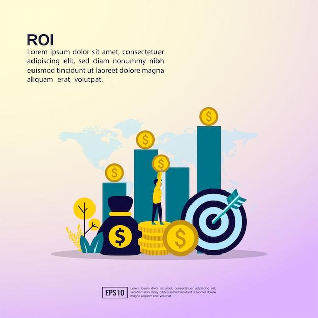 Roi banner Premium Vector