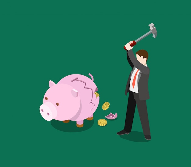 Roi return on investment business financial money monetary saving concept isometric   illustration man crash moneybox piggy bank coin fall out Free Vector