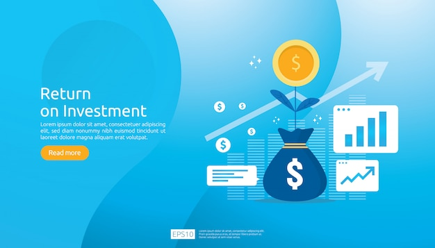 投資収益率roi webテンプレート Premiumベクター