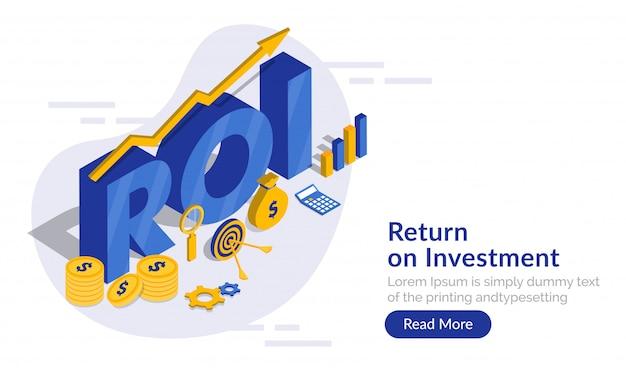 Концепция возврата инвестиций (roi). Premium векторы