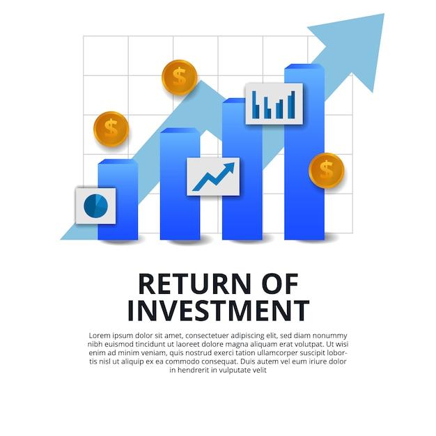 投資収益率roiファイナンス成長成功ビジネス Premiumベクター
