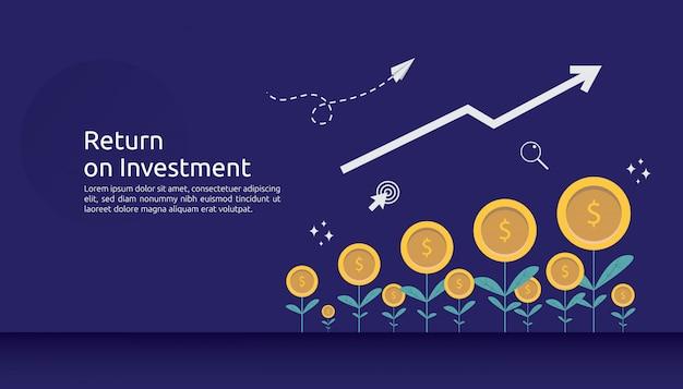 リターン投資roiまたは成長ビジネスファイナンスの概念 Premiumベクター
