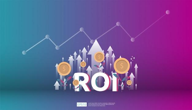 Возврат инвестиций, концепция возможности получения прибыли. стрелки роста бизнеса к успеху. roi текст с успехом стрелка граф диаграмма увеличить и расти доллар монет завод Premium векторы