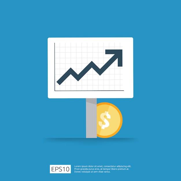 所得給与ドル率の増加統計。事業利益成長マージン収益。矢印で投資roiコンセプトの収益の財務パフォーマンス。コストセールアイコンフラットスタイル Premiumベクター