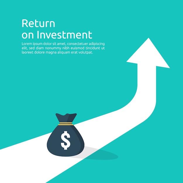 所得給与ドル率の増加統計。事業利益成長マージン収益。矢印で投資roiコンセプトの収益の財務パフォーマンス。 Premiumベクター