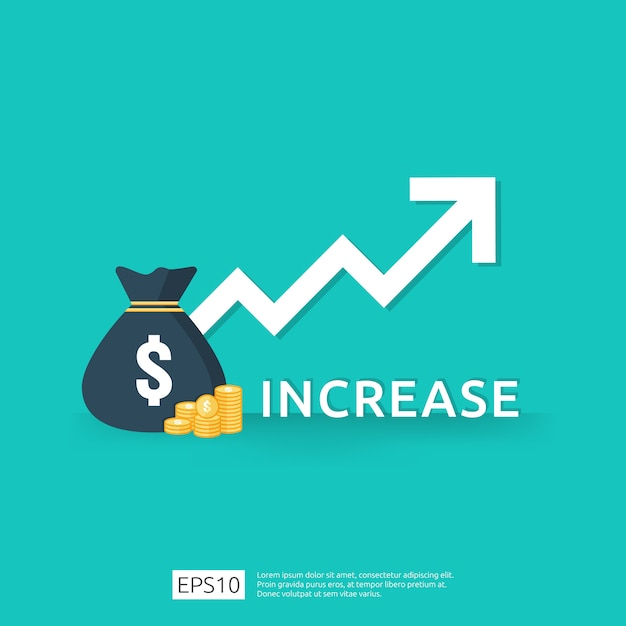 矢印と投資roiコンセプトの収益の財務パフォーマンス。 Premiumベクター