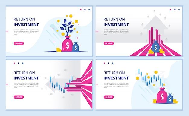 投資収益率、roiチャート、およびグラフのランディングページ Premiumベクター