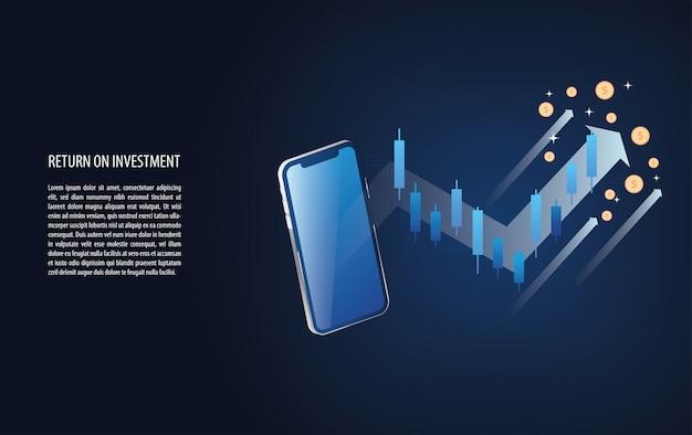 投資収益率のroiグラフとチャートは外国為替ローソク足のシグナルで増加します Premiumベクター