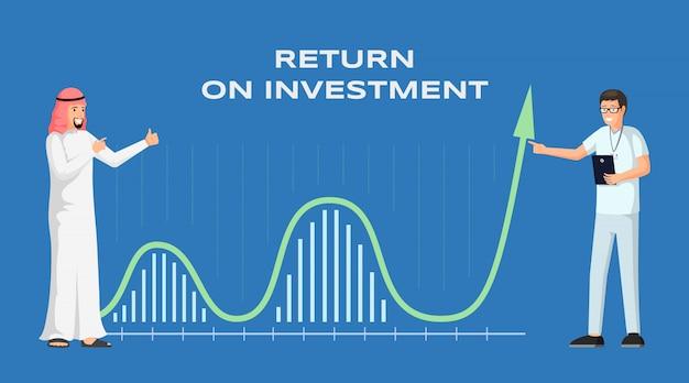Рентабельность инвестиций баннер шаблон иллюстрации. арабский бизнесмен международное сотрудничество. прибыль и доход, экономика и финансы, стратегия и финансовый успех, макет плаката roi Premium векторы