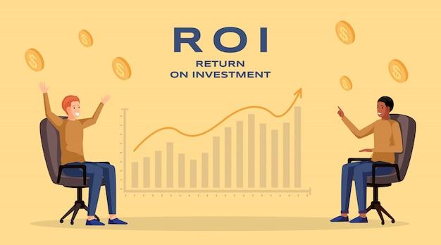 Шаблон баннера возврата инвестиций. прибыль и доход, экономика и финансы, бизнес-стратегия и финансовый успех. roi, макет плаката планирования увеличения доходов компании Premium векторы