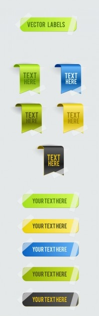Roll angle exquisite colored stickers material background vector set