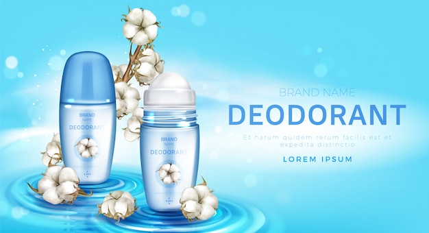 Roll on deodorant and cotton flowers realistic Free Vector