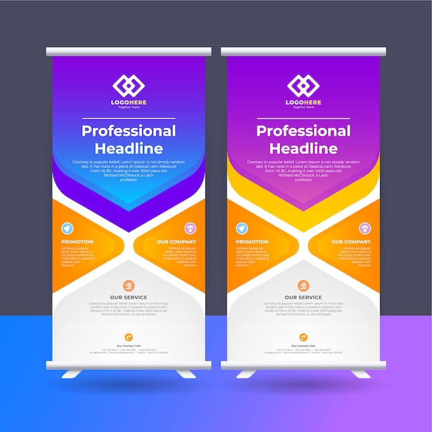 Roll up ad banner Premium Vector