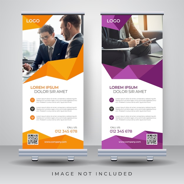 Roll up banner design template Premium Vector