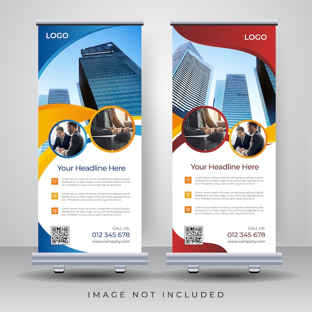 Roll up banner design template Premium Vector