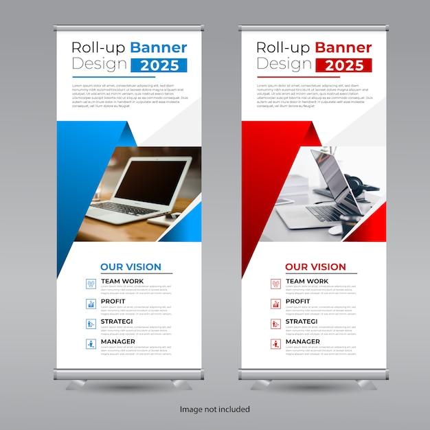 Roll up banner design Premium Vector