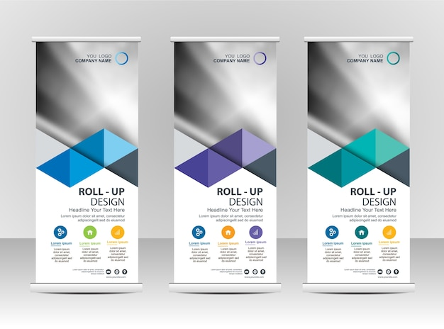 Roll up banner stand template design Vector | Premium Download