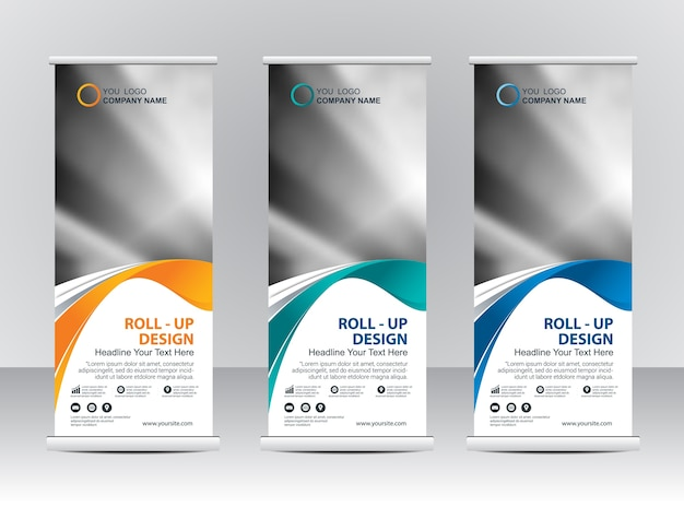 Roll up banner stand template design Vector   Premium Download