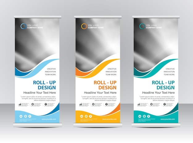 Roll up banner stand template design Premium Vector