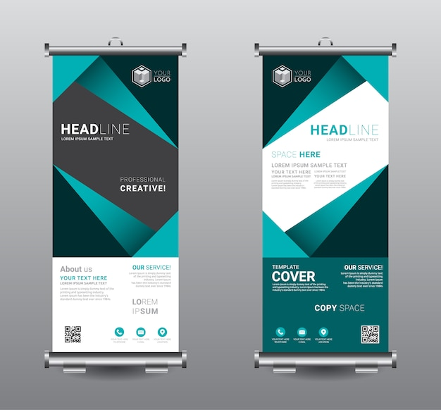 Roll up banner standee business template design. Premium Vector