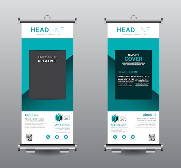 Roll up banner standee business template design. Premium Vector
