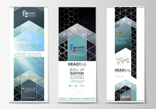 Roll up banner stands, abstract geometric style templates, corporate