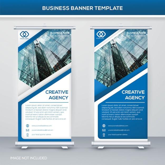 Roll up banner template design Premium Vector