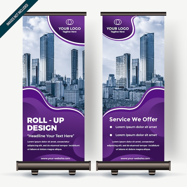 Roll up banner with colorfull gradient Premium Vector