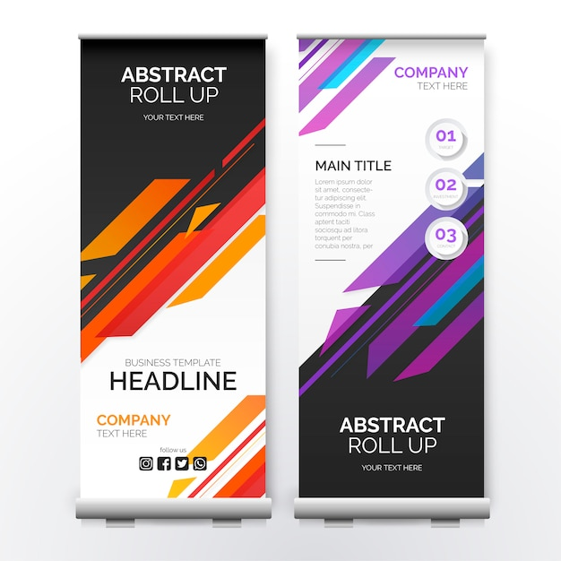 Roll up banner with modern shapes Free Vector