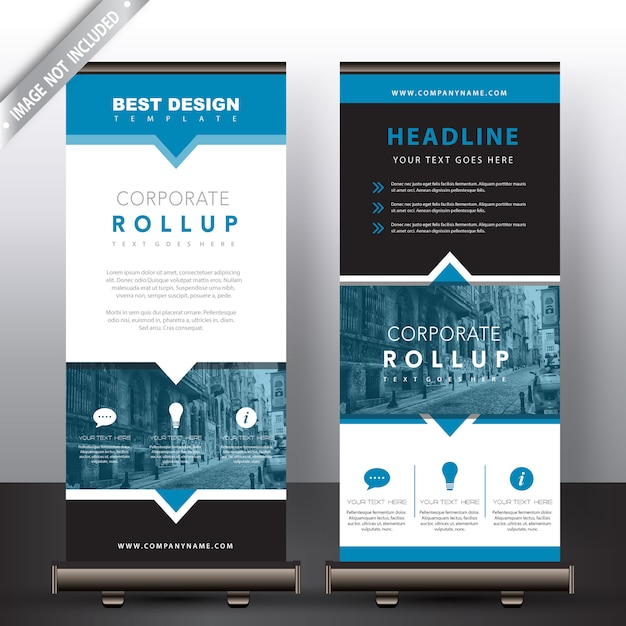 roll up banners in blue detailed Free Vector