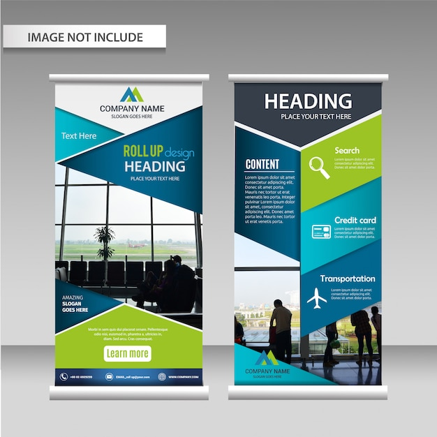 Roll up design template layout. Premium Vector