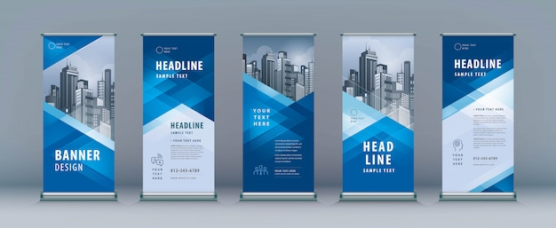 Roll up set. standee design. banner template, geometric triangle Premium Vector