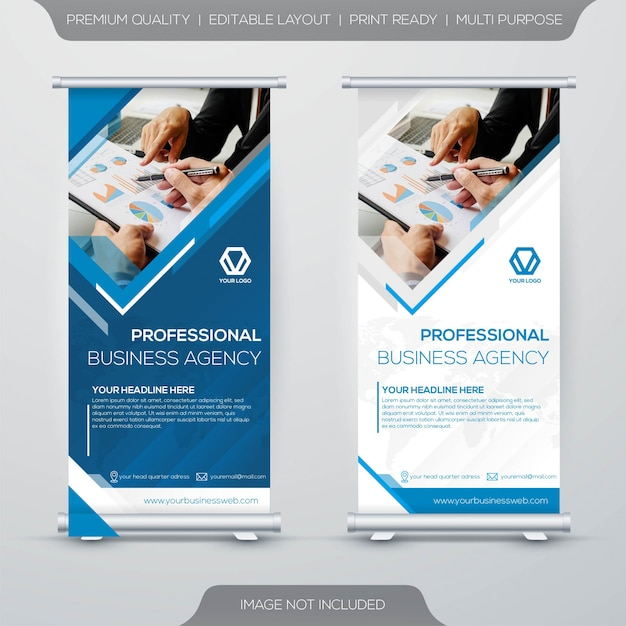 Roll up stand banner template Premium Vector
