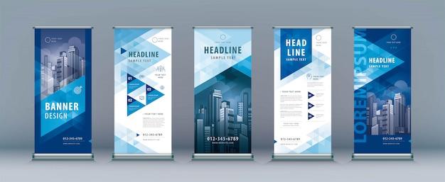 Бизнес roll up шаблон набора. standee design, абстрактный геометрический треугольник Premium векторы